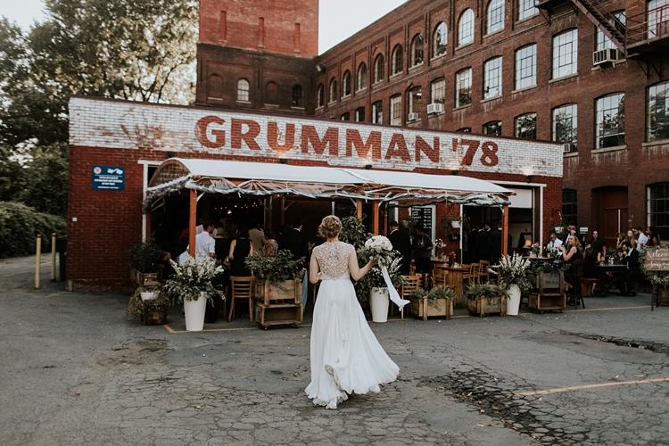Bride walking into her reception at Grumman 78 Montreal