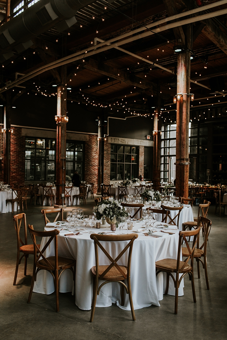 Stunning wedding decor at Steam Whistle in Toronto